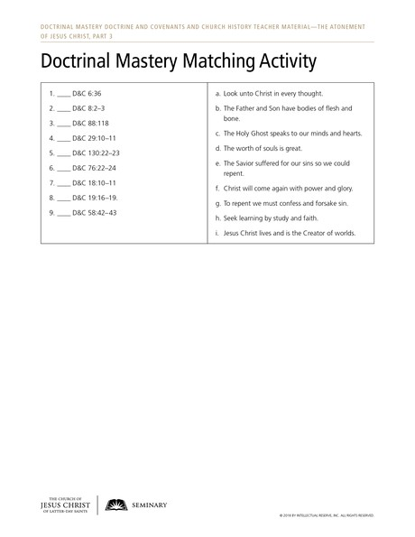 handout, Doctrinal Mastery Matching Activity