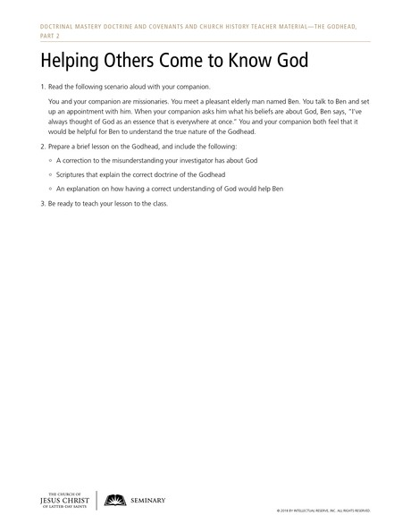 handout, Helping Others Come to Know God