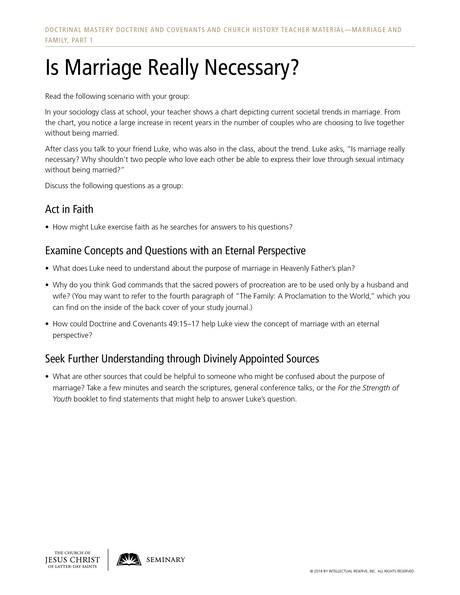 handout, Is Marriage Really Necessary?
