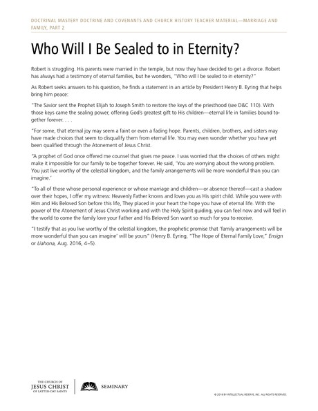 handout, Who Will I Be Sealed to in Eternity?