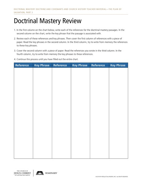 handout, Doctrinal Mastery Review