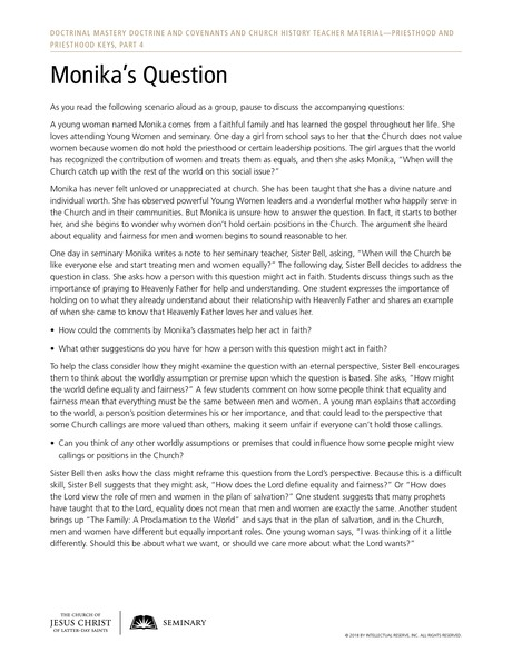 handout, Monika's Question