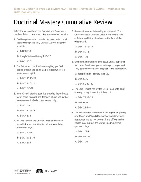 handout, Doctrinal Mastery Cumulative Review