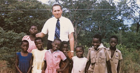 President Monson with children in Africa