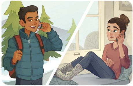 young man and young woman talking on phone