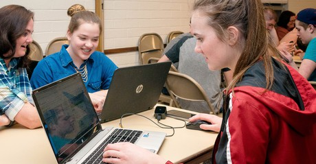 young women at computers