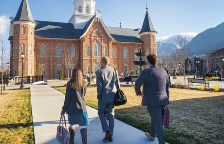 young adults walking toward the Provo City Center Temple