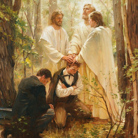 Joseph Smith and Oliver Cowdery receiving the Melchizedek Priesthood