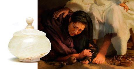 ointment containter plus Mary washing Jesus's feet