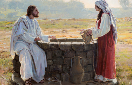 Jesus teaching the woman at the well