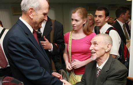 Russell M. Nelson greeting Saints in Moscow, Russia