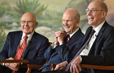 Russell M. Nelson and his counselors during press conference