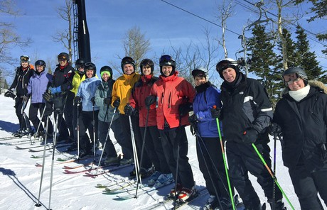 Russell M. Nelson on family ski outing