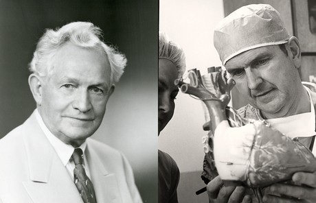 David O. McKay; Russell M. Nelson looking at model of heart