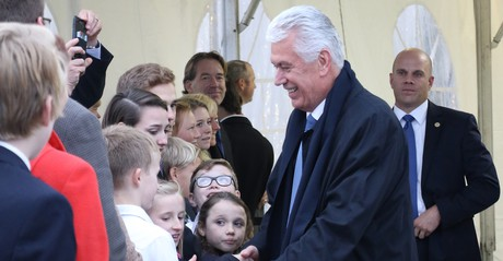 President Dieter F. Uchtdorf greeting members at temple dedication