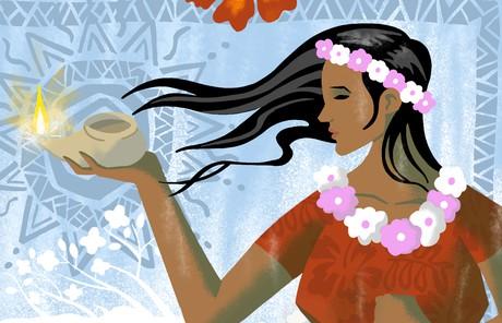 hawaiian woman holding oil lamp