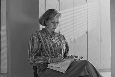 woman reading scriptures