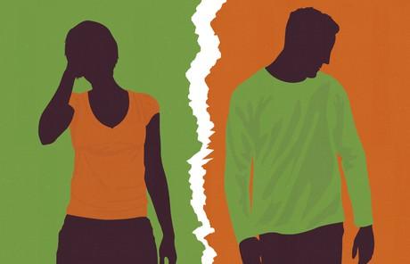 silhouette of estranged couple