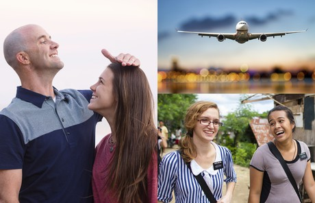 composite of father and daughter, airplane, sister missionaries