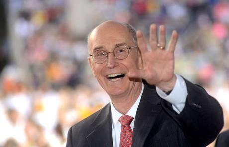 President Eyring waving