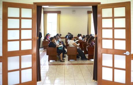members sitting in church