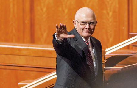 President Oaks waving
