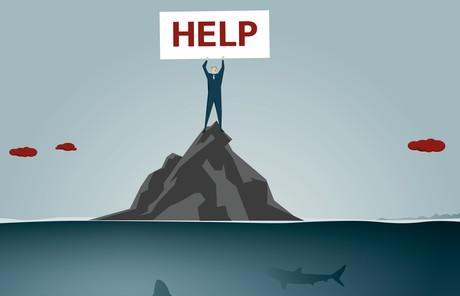 man holding help sign