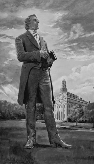 Prophet Joseph Smith in front of Nauvoo Temple