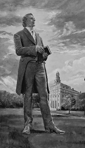 O Profeta Joseph Smith em Frente ao Templo de Nauvoo