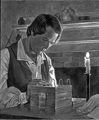 Prophet Joseph Smith translating gold plates