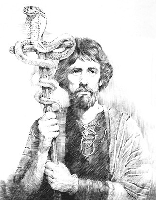 Moses holding staff with serpent