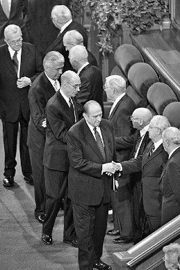 President Thomas S. Monson and other General Authorities at general conference