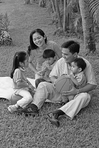Young family outdoors