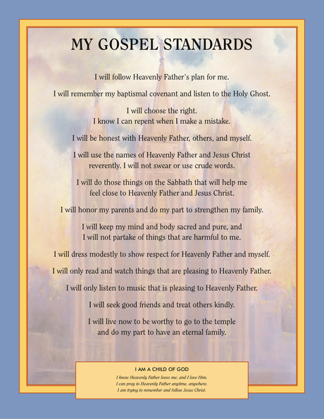 My Gospel Standards poster