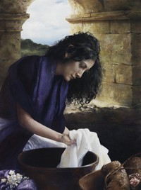 woman working with cloth