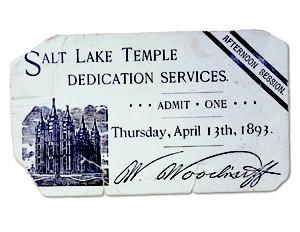 ticket for dedication of Salt Lake Temple